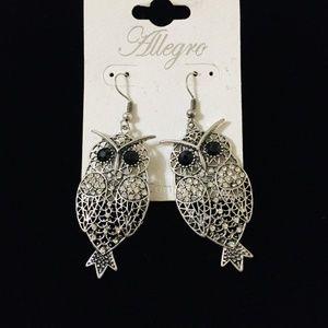 Allegro Silver Toned Owl Motif Earrings